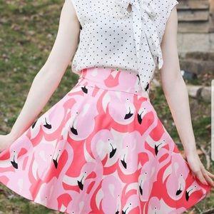 Retrolicious Flamingo High-Waist Skirt